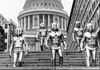 Cybermen outside St Pauls Cathedral
