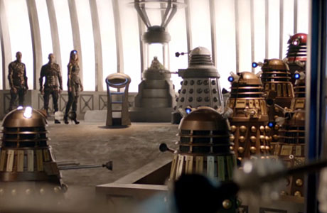 Dalek Prime Minister surrounded by Daleks