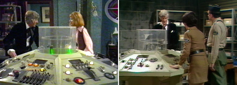 First, Second and Third Doctors Tardis interior. Tardis-console-season-7